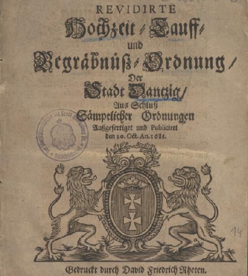Rozporządzenie regulujące przebieg ślubów i pogrzebów. Ze zbiorów portalu Polona.