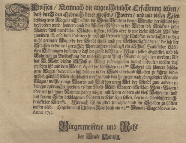 Rozporządzenie zabraniające używania wozów z ciężkimi kołami z roku 1713. Zbiory portalu Polona.