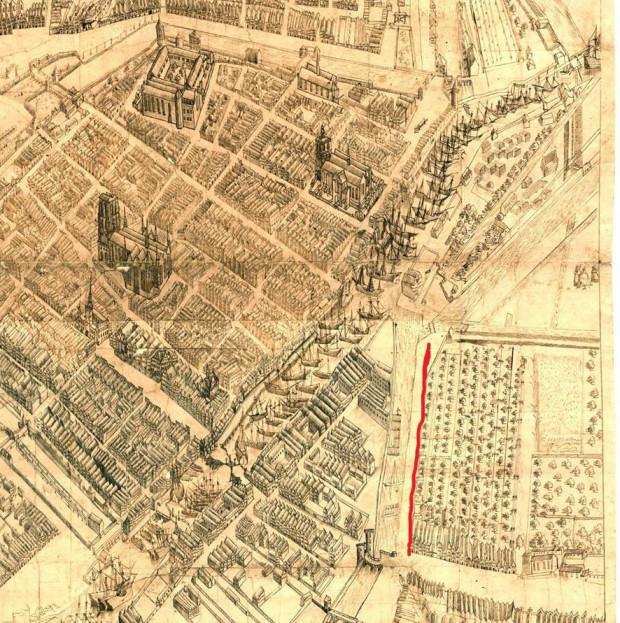 Fragment planu Gdańska z 1601 r. z zaznaczonym na czerwono terenem obecnej ulicy Szafarnia - plan w zasobach archiwum wojny w Sztokholmie (Krigsarkivet).