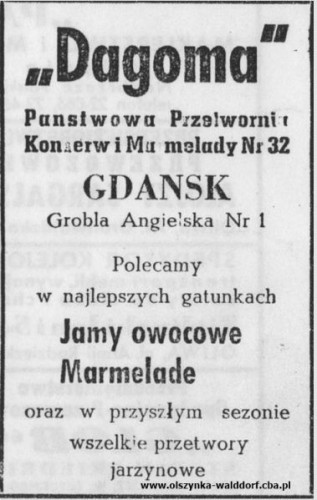 Reklama Dagomy z 1948 r.