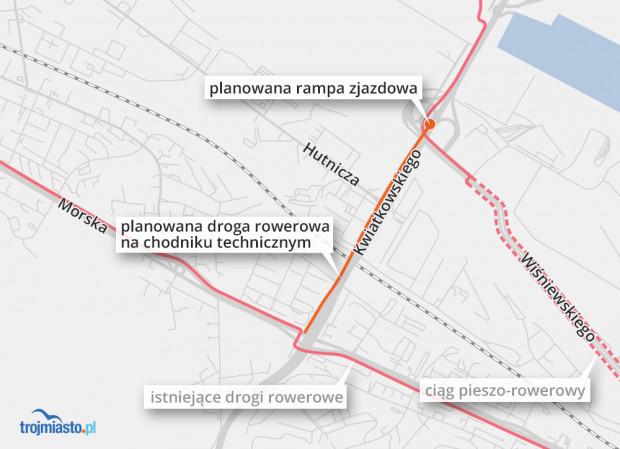 Planowana droga rowerowa poprowadzona zostanie chodnikiem technicznym bez ingerencji w jezdnię.