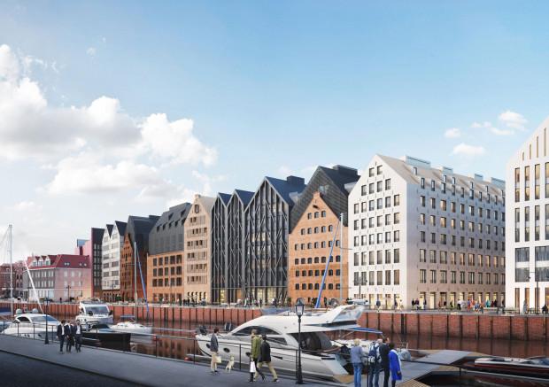 Pierwszy z prawej to tzw. Spichlerz Miejski. Jego budowa jest w tej chwili najbardziej zaawansowana. Obok Spichlerz Steffen, którego zabytkowe mury wkomponowane zostaną w znaczną część elewacji nowego budynku. Zabytkowe części podziwiać będzie można także wewnątrz zabudowy.