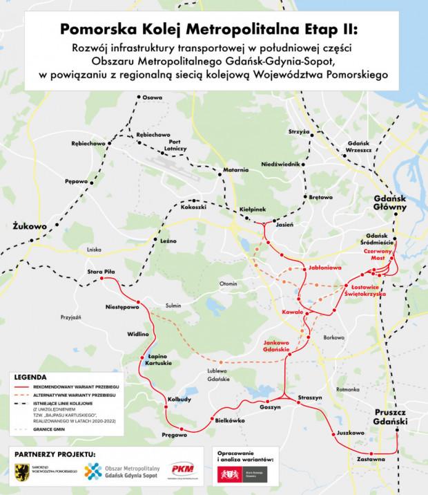 Rekomendowane, alternatywne oraz istniejące linie kolejowe na Pomorzu.