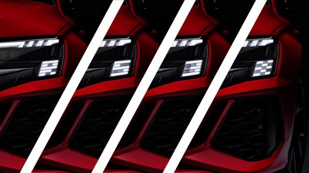 """Ciekawostką są LED-owe światła w pasie przednim, które wyświetlają animację powitalną w postaci literek """"R"""" i """"S"""" oraz cyferki """"3"""" i flagi """"szachownicy""""."""