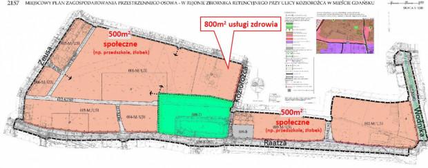 Rysunek projektu planu z zaznaczeniem lokalizacji obowiązkowych funkcji społecznych i zdrowia.