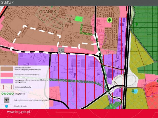 Główne ustalenia studium dla terenu objętego projektem planu oraz gruntów w sąsiedztwie.