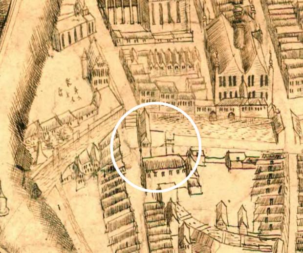Fragment tzw. planu sztokholmskiego z ok. 1600 roku z widoczną kuźnią miedzi, w której miejsce powstał Mały Młyn.