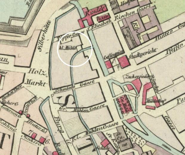 Fragment planu Gersdorffa z 1822 roku - widoczny Mały Młyn.