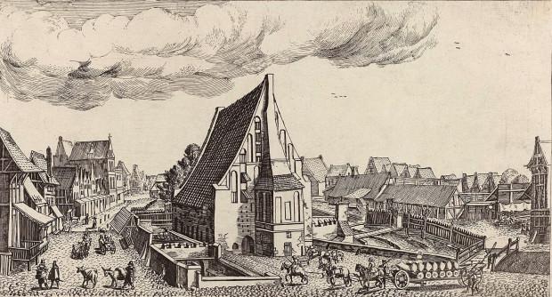 Wielki Młyn, na pierwszym planie piec do wypiekania chleba. Rysunek Aegidiusa Dickmanna z 1617 r.