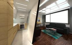 """Koncepcja druga. Geometrię pomieszczenia """"łamią"""" także linie na kuchennych meblach i oświetlenie zamontowane w podwieszanych sufitach."""