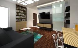 Koncepcja druga. Nietypowe podejście do ścianki dzielącej pomieszczenia podkreśla jej wykończenie - szczotkowaną stalą.