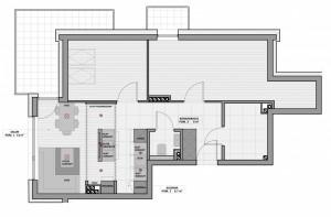 Koncepcja pierwsza przewiduje umieszczenie między pomieszczeniami kuchennej wyspy.