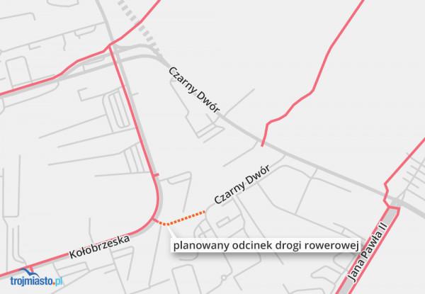Planowana lokalizacja nowej drogi rowerowej.