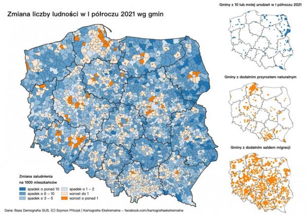 Mapa obrazująca zmiany ludnościowe w naszym kraju.