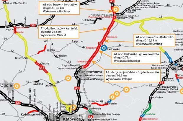 Od dziś kierowcy pojadą 24-kilometrowym odcinkiem autostrady A1 między Piotrkowem Trybunalskim a Kamieńskiem po dwóch pasach w każdym kierunku.