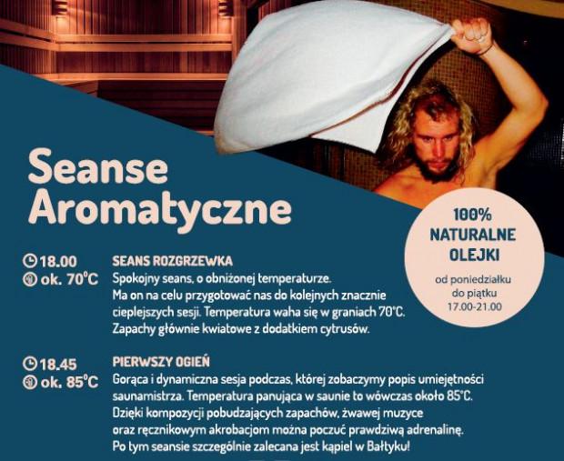 Seanse aromatyczne jakie oferowane są w Saunach na plaży w Sopocie (powiększ zdjęcie żeby zobaczyć pełną listę).