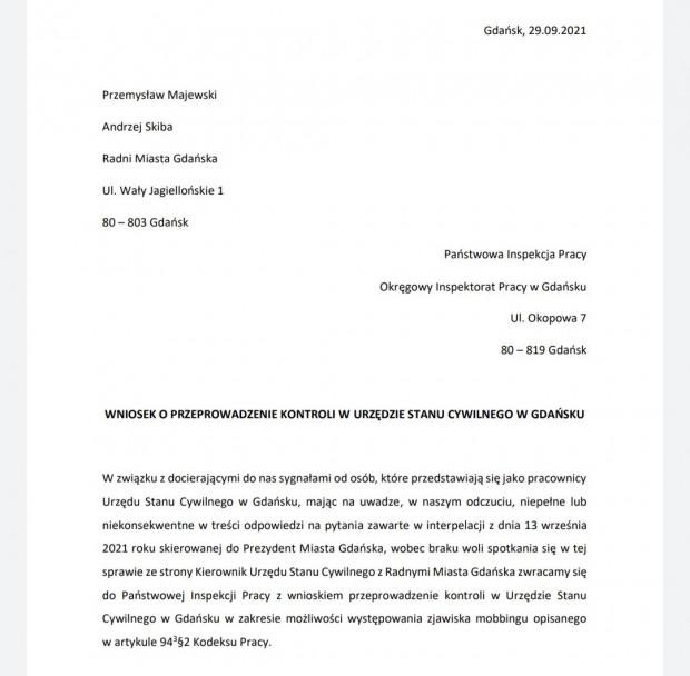 Wniosek radnych PiS o kontrolę w USC. Została ona wszczęta jeszcze tego samego dnia.
