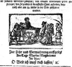 "Ostatnia droga nierządnicy Elsy Beyer. Rycina z ""Gewandte Rede der armen offenbahren Sunderin Elisabeth Beyers sonsten Fuhrmans Else genandt..."", wydanego w Gdańsku w 1664 r."