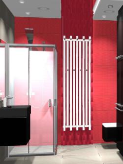"""Ozdobą łazienki jest grzejnik na rozrzeźbionej czerwonej ścianie, która dla wzmocnienia efektu """"włamuje się"""" w pęknięcie w suficie podwieszanym."""
