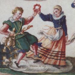 """Na obrazie """"Gdańscy kochankowie"""" Antona Möllera widać ze szczegółami strój gdańskiej patrycjuszki z XVI wieku."""