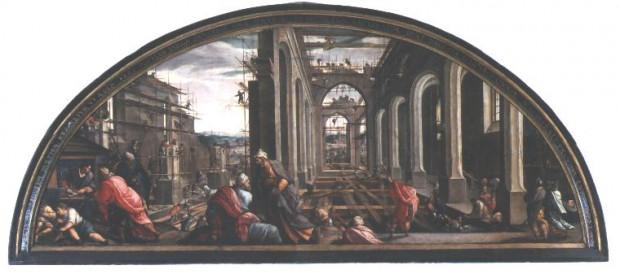 """Uważne oko dostrzeże na obrazie """"Budowa świątyni"""" gdańskiego malarza Antona Möllera także kobiety, które były wykorzystywane na placach budów nie tylko przy lżejszych pracach."""