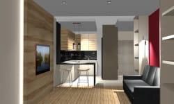 Koncepcja druga (kuchnia otwarta). Drewniany panel za telewizorem jest podświetlany - ma to uzasadnienie praktyczne i estetyczne.