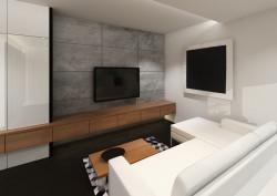 Szare, surowe płyty z odpowiednim podświetleniem stanowią dobre tło do oglądania telewizji.