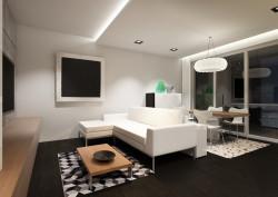 Dzięki zastosowaniu podwieszanego sufitu nie ma konieczności stosowania karnisza; szyny ukryte są w zabudowie pod sufitem.
