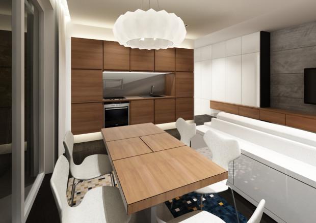 W czasie przygotowania posiłku moduły kuchennej zabudowy są odsłonięte - można korzystać z wszystkich urządzeń...
