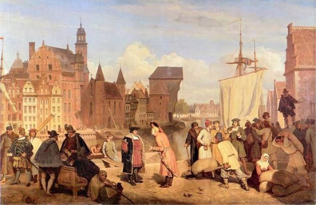 XVII-wieczni gdańscy kupcy w porcie na obrazie XIX malarza Wojciecha Gersona.
