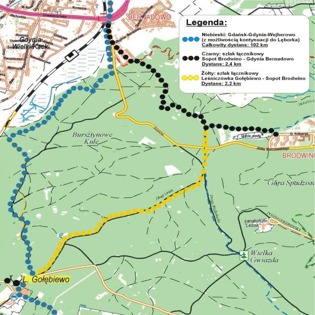 Zobacz mapę szlaków łącznikowych w okolicy Leśniczówki Gołębiewo
