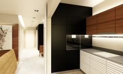 Koncepcja pierwsza. Kuchnia, piekarnik i lodówka zostały zabudowane w ścianie.