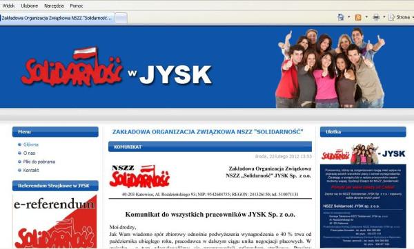 Strona internetowa, dzięki której komisja zakładowa kontaktuje się z pracownikami rozsianymi po całej Polsce.