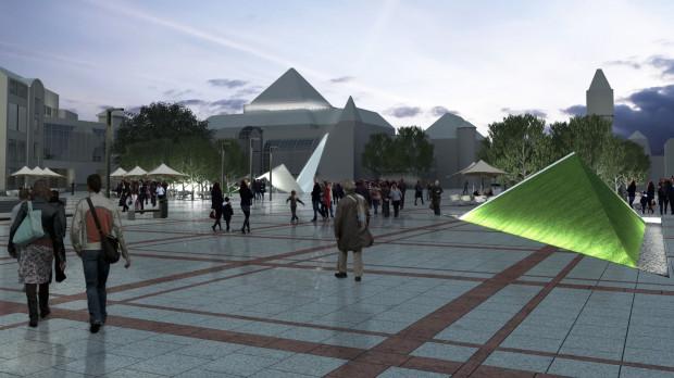 W najwyżej ocenionej pracy zespołu Wolski Architekci dominujący na placu element oświetlony jest strumieniem światła.