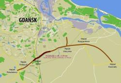 Przebieg Południowej Obwodnicy Gdańska.