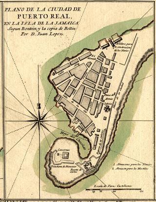 Plan miast Port Royal na Jamaice sporządzony przez Don Juan Lopeza w 1782 r. Także tu operowali polscy piraci.