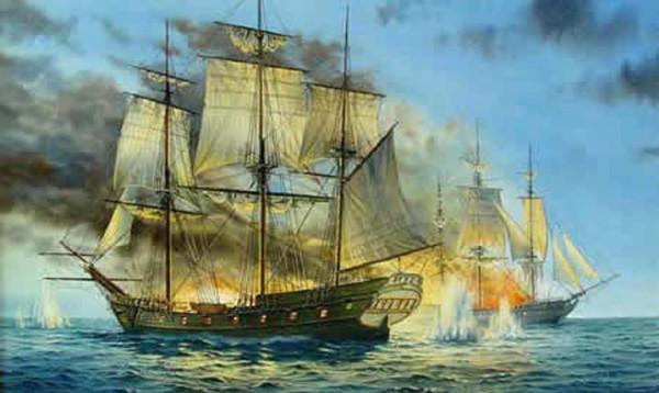 Bitwa morska z udziałem pirackiego okrętu.
