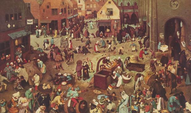 """""""Walka postu z karnawałem"""", słynny obraz Pietera Bruegela z 1559 roku. Jak wyglądałby dziś i kto by wygrał?"""