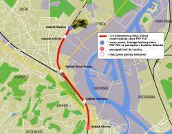 Zmodernizowana linia kolejowa z Śródmieścia do stadionu w Letnicy.