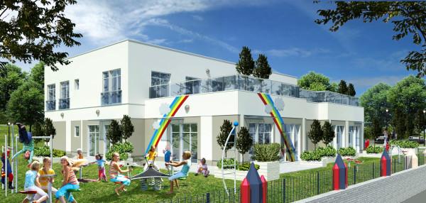 Przedszkole na Lawendowych Wzgórzach przy ul. Jabłoniowej w Gdańsku będzie stylistycznie komponowało się z otaczającymi budynkami mieszkalnymi.