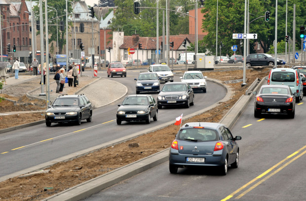 Skrzyżowanie ulic: Nowej Słowackiego, Chrzanowskiego i Partyzantów w Gdańsku.