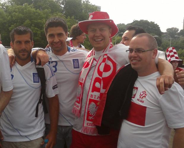 Polsko-greckie fetowanie przed meczem w Warszawie.