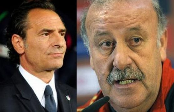 Trenerzy Włoch - Cesare Prandelli i Hiszpanii - Vicente del Bosque.