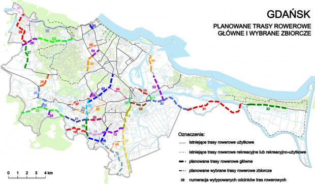 Kliknij i powiększ widok mapy planowanych tras rowerowych w Gdańsku