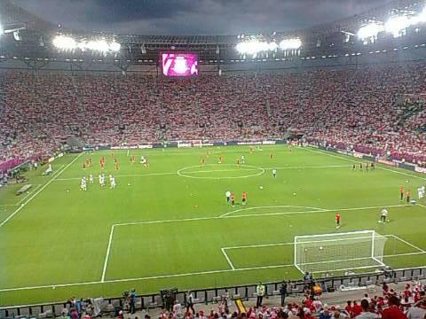 Stadion we Wrocławiu na chwilę przed rozpoczęciem meczu.