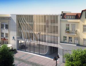 Dodatkowa szyba na froncie budynku Na Fali ma sprawiać wrażenie falowania elewacji.