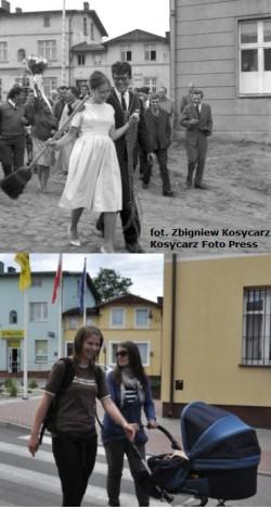 Gra wiejska, która jest jedną z atrakcji Pościgu za Balonem, osnuta będzie wokół wesela Zbigniewa Cybulskiego. Na zdjęciu Cybulski w Chmielnie 50 lat temu i ten sam fragment miasta dziś.
