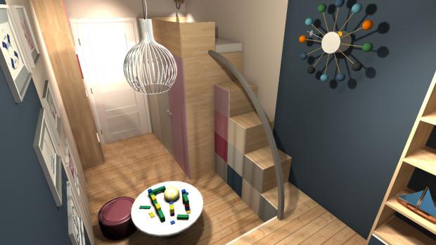 Koncepcja pierwsza. Umieszczenie dziecięcego łóżka na górze zabudowy pozwala w pomieszczeniu oszczędzić miejsce na łóżko i zwiększyć przestrzeń przechowalniczą.