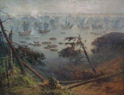 """Wczesnym rankiem, 15 września 1463 r., pod osłoną porannej mgły, flota związkowa niespostrzeżona podpływa do okrętów przeciwnika. Gdy mgła się podniosła, trwający przynajmniej godzinę pojedynek strzelecki rozpoczyna bitwę na Zalewie Wiślanym. Na zdjęciu """"Bitwa na Zalewie Wiślanym - Okręty przed natarciem"""", Henryk Baranowski, 1988."""