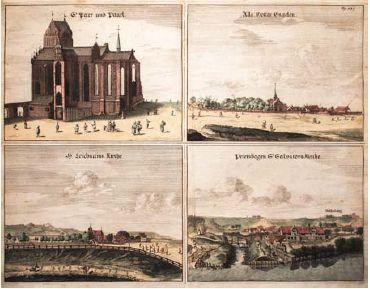 Cztery widoki Gdańska na wspólnym arkuszu według rys. gdańskiego architekta P.Willera z 1688 roku. Widać na nich kościół św. Piotra i Pawła, dzielnice Aniołki, kościół Bożego Ciała i Zaroślak z kościołem Zbawiciela.